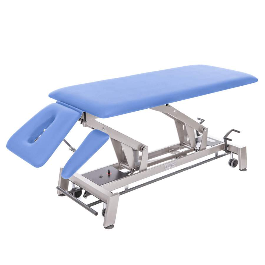 Therapieliege STOCKHOLM 4 Segmente (mit Kopfteil und Armablagen) | Untergestell:twintone | Polsterfarbe: hellblau