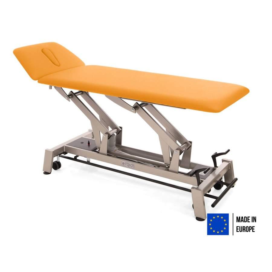 Elektrische Therapieliege STOCKHOLM mit ergonomischem Kopfteil, Untergestell twintone (metallic-anthrazit), Polster: PISA-orange