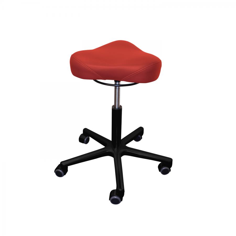 Rollhocker POSTO Triositz | schwarzes Untergestell | Polsterfarbe: PISA-rot