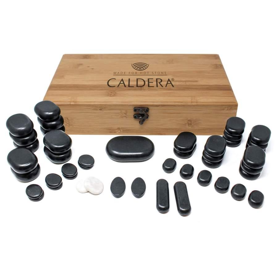 Hot Stone Massagestein-Set 45-teilig, in Aufbewahrungsbox aus Bambus