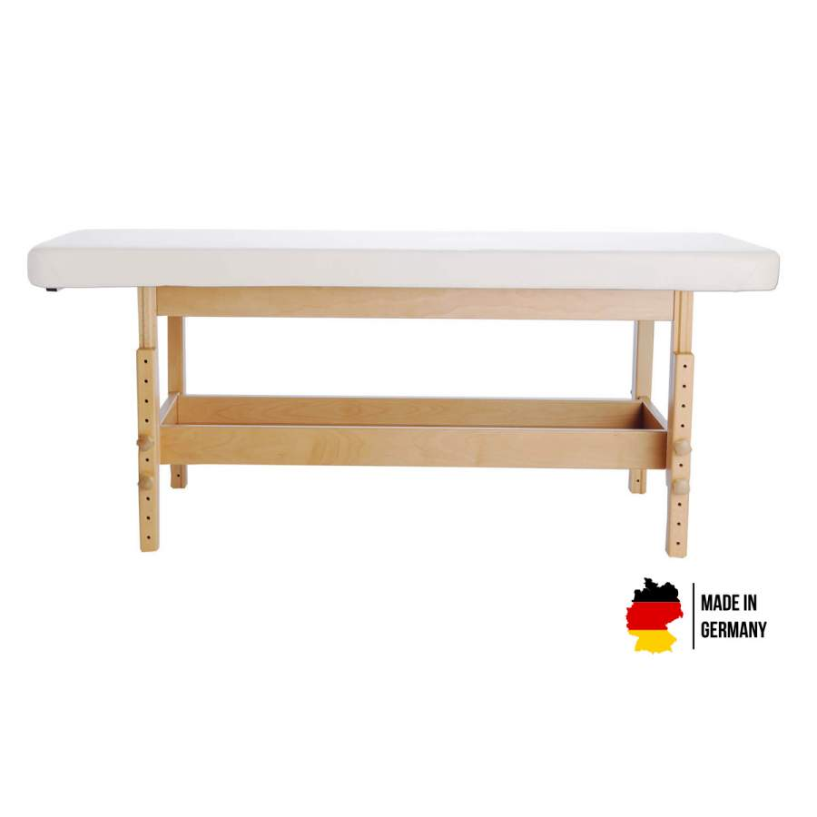 Massageliege aus Holz - handgefertigt mit vielen Wahlmöglichkeiten. Bezugsfarbe: PU-blanco, Untergestell: Buche lackiert