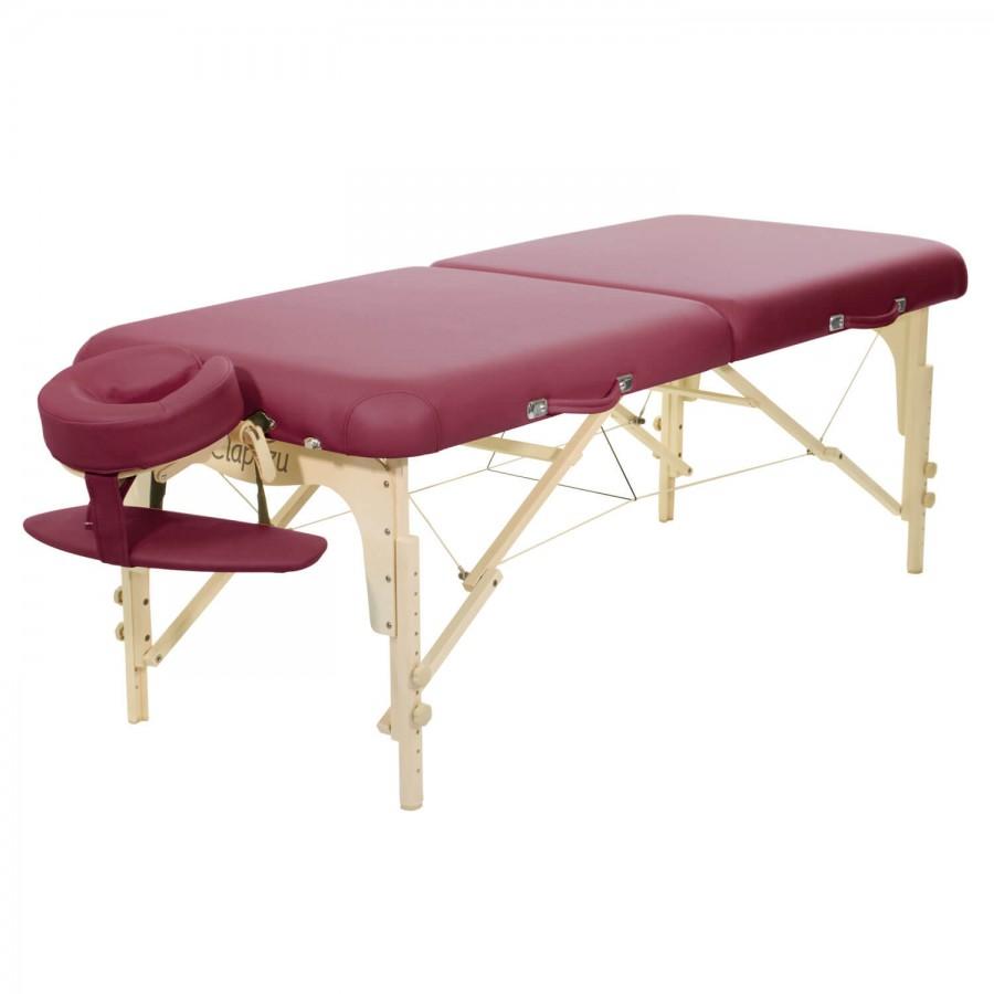 Mobile Massageliege Clap Tzu Classic Set Pro, burgund