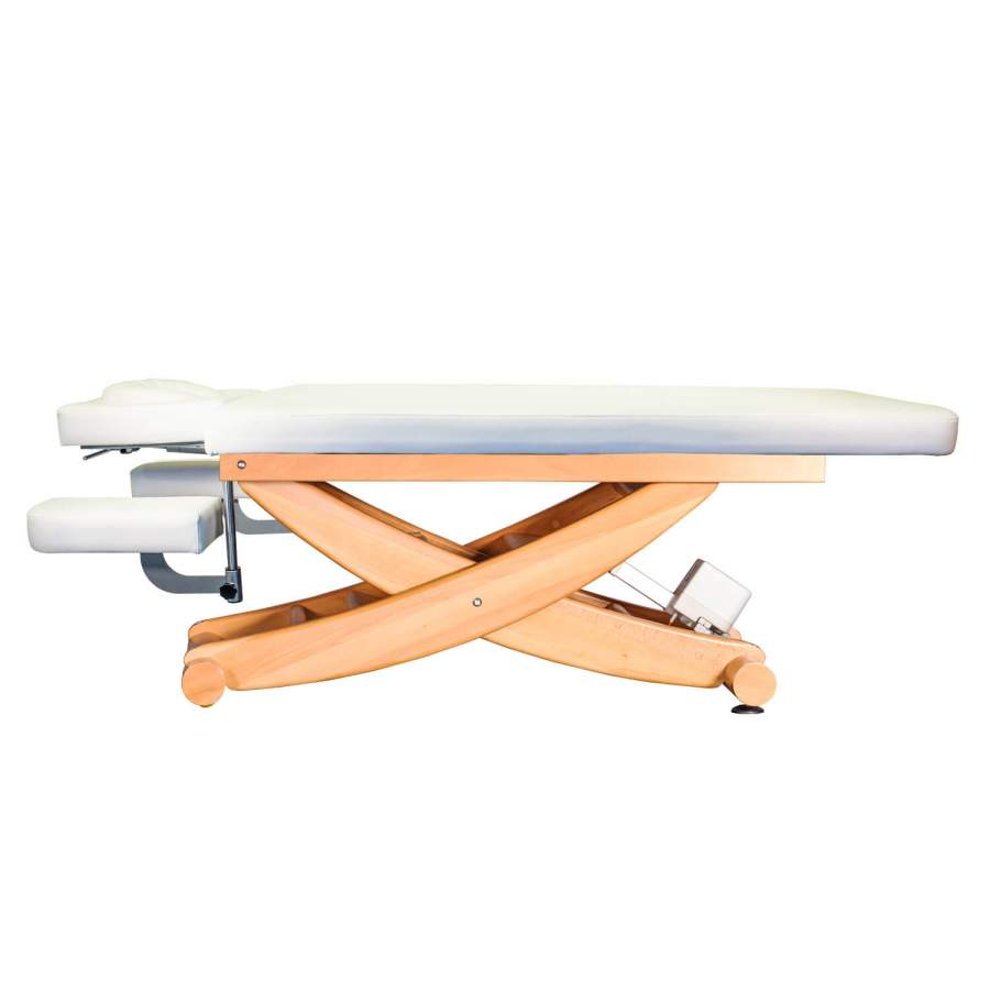 Massageliege HAVANNA mit Kopfteil und Armablagen: Untergestell: Buche lackiert, Bezugsfarbe: PU-blanco