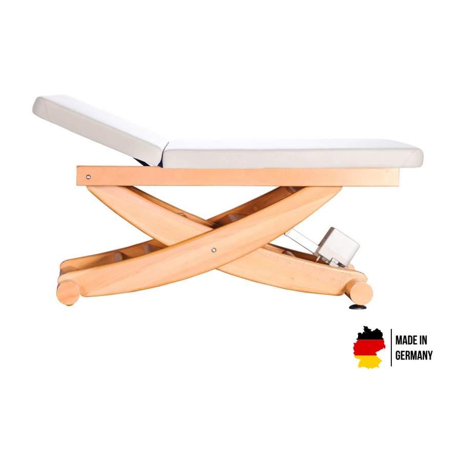 HAVANNA mit Rückenteil: Untersuchungsliege / Wellnessliege aus Holz, Untergestell: Buche lackiert, Bezugsfarbe: PU-blanco