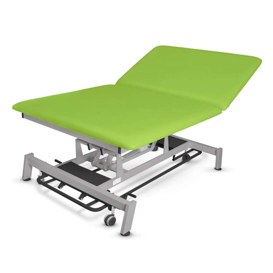 Bobathliege mit hochstellbarem Rückenteil: STOCKHOLM Bobath - Untergestell: twintone (metallic / anthrazit) Bezugsfarbe: PISA-apfelgrün