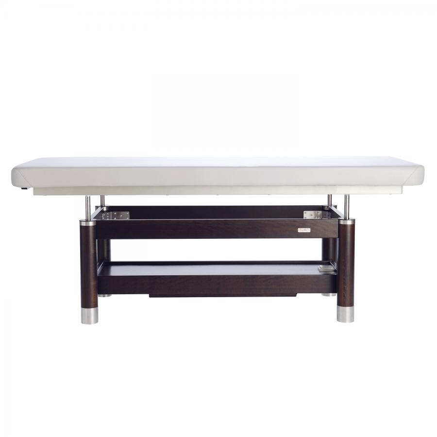 AMBRA Motion: Edle stationäre Massageliege - handgefertigt und mit vielen Optionen erweiterbar: PU-blanco