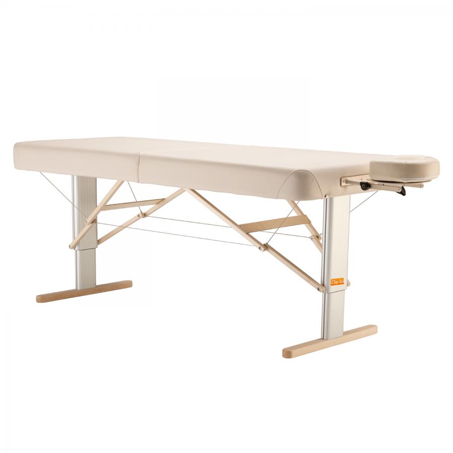 Mobile Massageliege mit elektrischer Höhenverstellung: LINEA Wellness - komfortabel gepolsterte breite Liegefläche, Bezugsfarbe: PU-arena (beige)