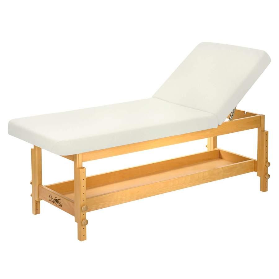 STABILO: Untersuchungsliege / Kosmetikliege aus Holz - manuell höhenverstellbar, Bezugsfarbe: PU-blanco