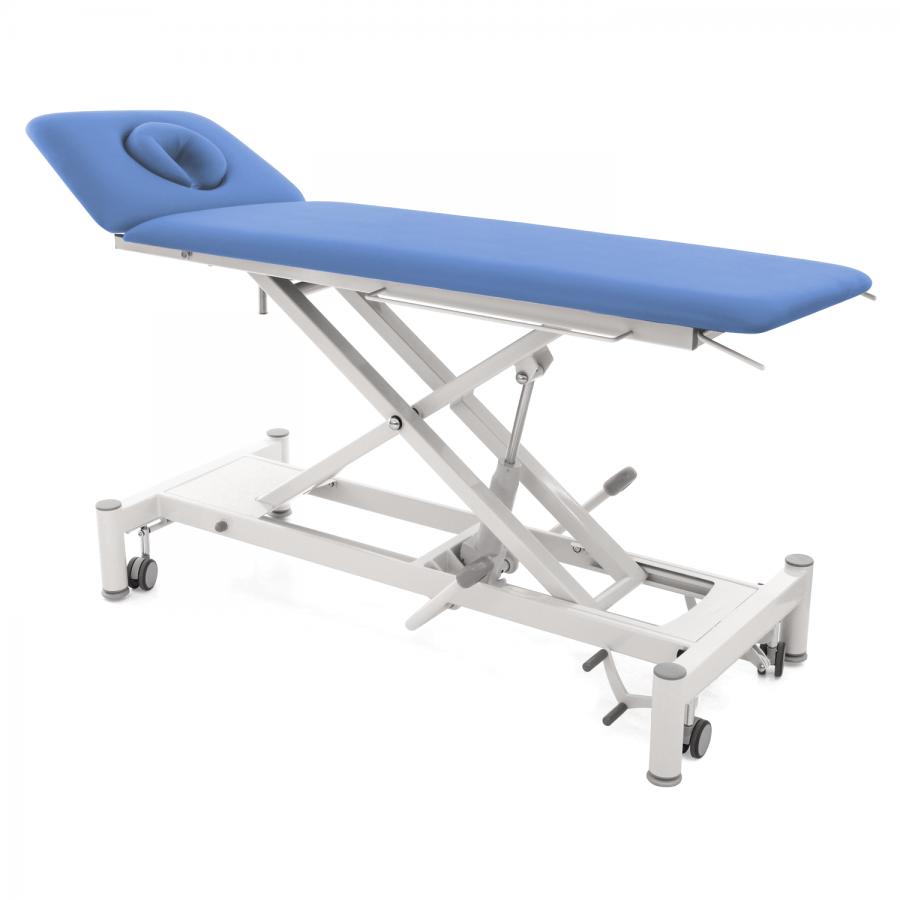 Hydraulische Therapieliege mit ergonomischem Kopfteil: OSLO 2 Segmente hydraulisch : Untergestell: weiß, Bezugsfarbe: PISA-blau