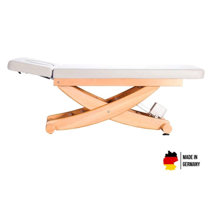 Massageliege aus massivem Buchenholz: HAVANNA, Untergestell: Buche lackiert, Bezugsfarbe: PU-blanco
