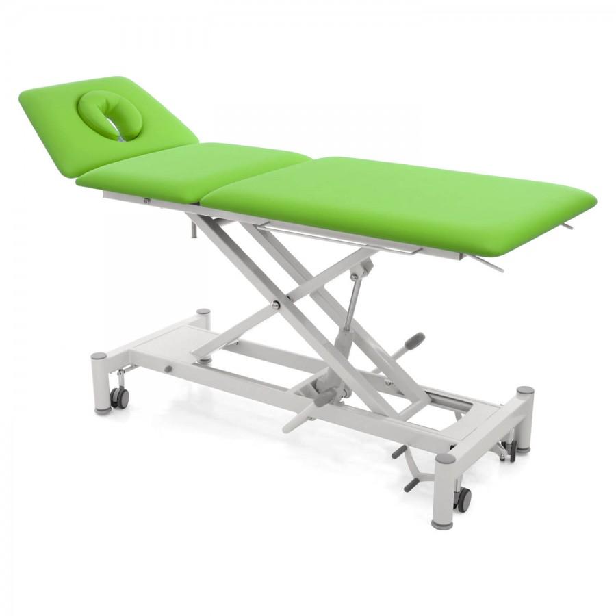 Hydraulische Therapieliege mit ergonomischem Kopfteil und hochstellbarem Bein- / Rückenteil: OSLO 2 Segmente hydraulisch : Untergestell mit Radhebesatz (optional): weiß, Bezugsfarbe: PISA-apfelgrün