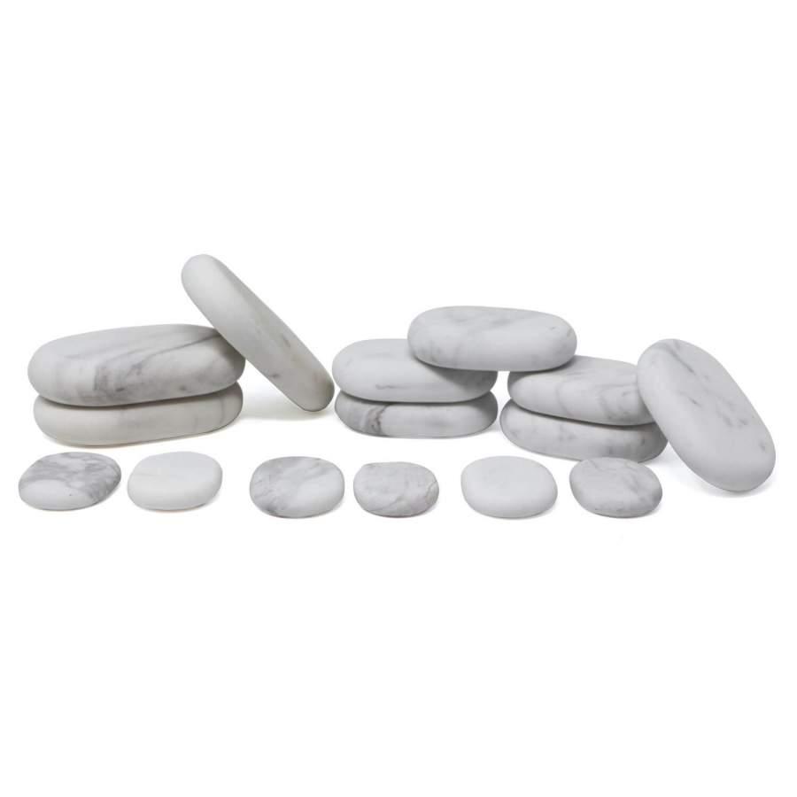 Cold Stone Marmor Massagestein Set, 15-teilig  inklusive Samt-Aufbewahrungssäckchen