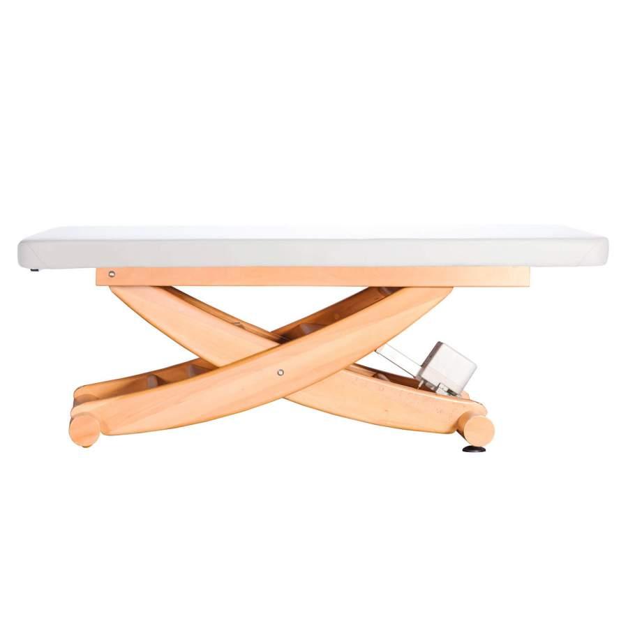 MAssageliege aus Massivholz: HAVANNA mit durchgehender Liegefläche, Untergestell: Buche lackiert, Bezugsfarbe: PU-blanco