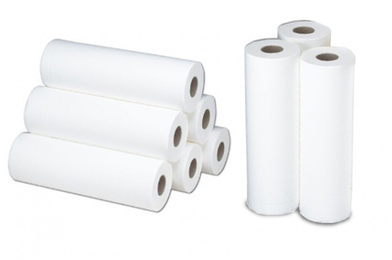 Papierrollen / Ärztekrepp zum Abdecken der Liegefläche von Therapieliegen und Untersuchungsliegen. 9 Stück im Karton