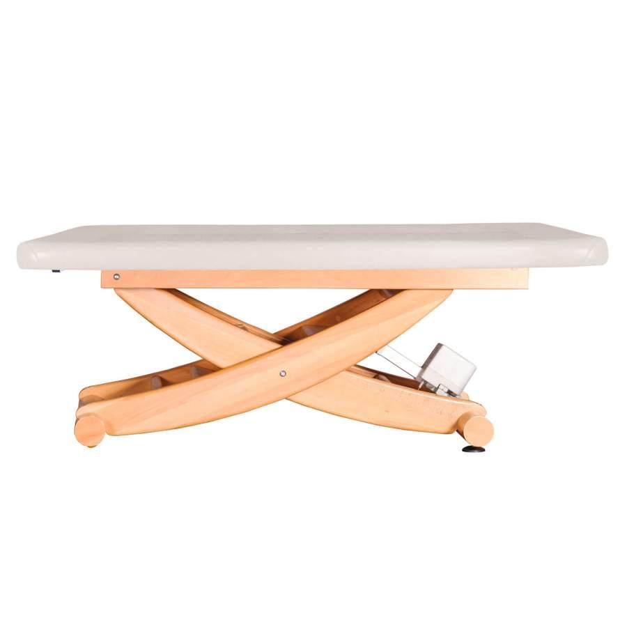 HAVANNA: Ayurvedaliege mit Scherengestell aus massivem Buchenholz. Untergestell: Buche lackiert, Bezugsfarbe: PU-blanco