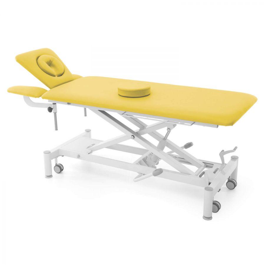 Hydraulische Therapieliege mit ergonomischem Kopfteil & Armablagen (absenkbar und schwenkbar): OSLO 4 Segmente hydraulisch : Untergestell mit Radhebesatz (optional): weiß, Bezugsfarbe: PISA-honig (gelb)