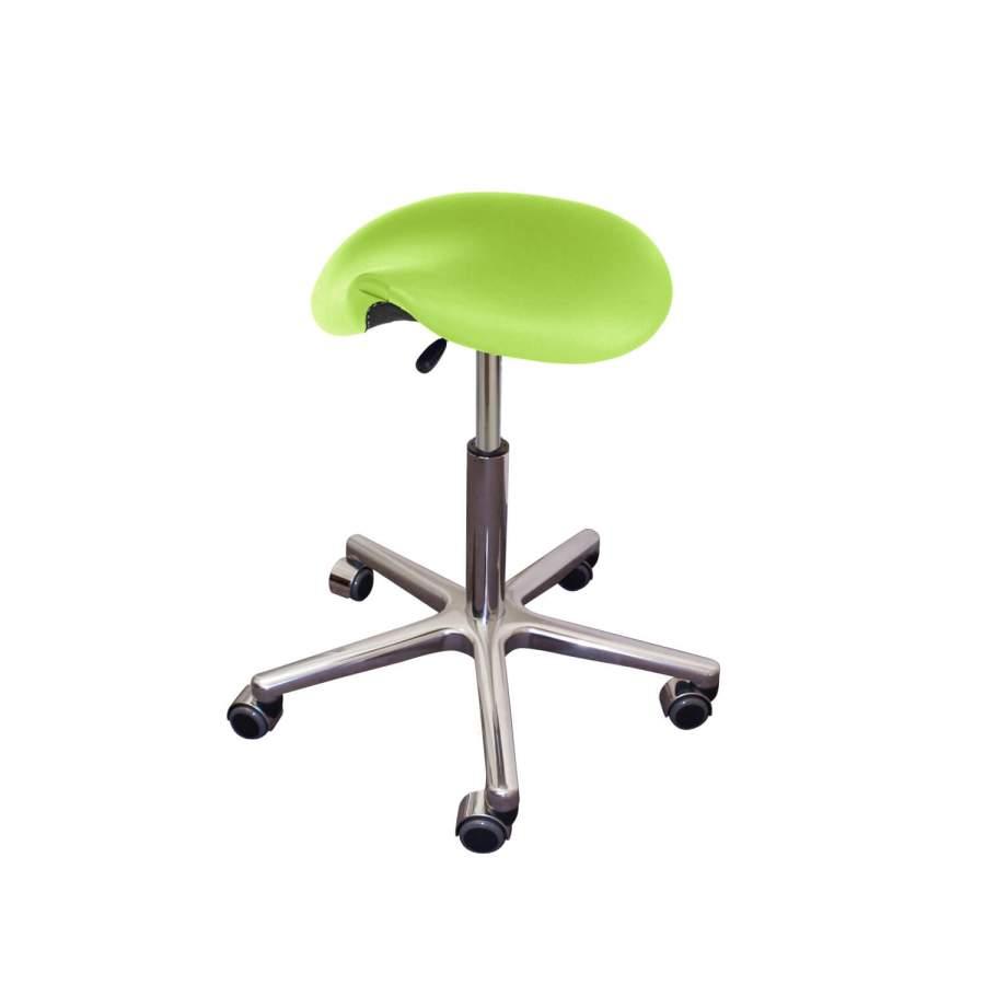 Rollhocker POSTO Chrom Sattelsitz | verchromtes Fußkreuz | Polsterfarbe: PISA-apfelgrün
