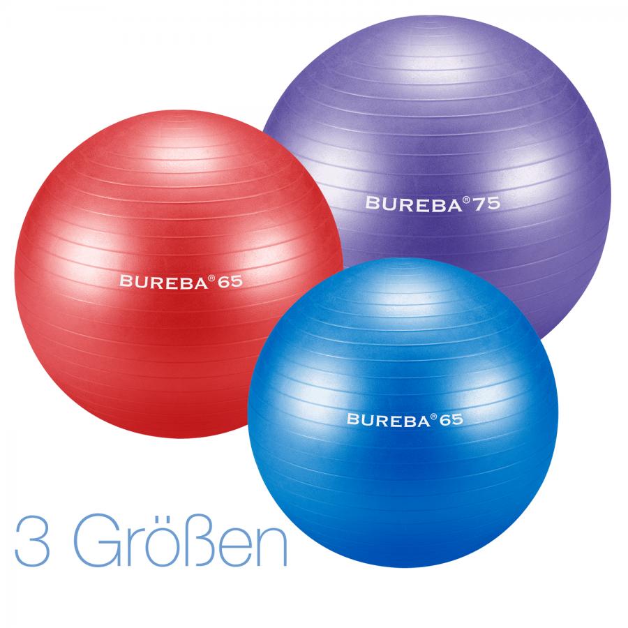 Bureba - Platzsicherer Gymnastikball / Fitnessball in 3 Größen und 7 Farben