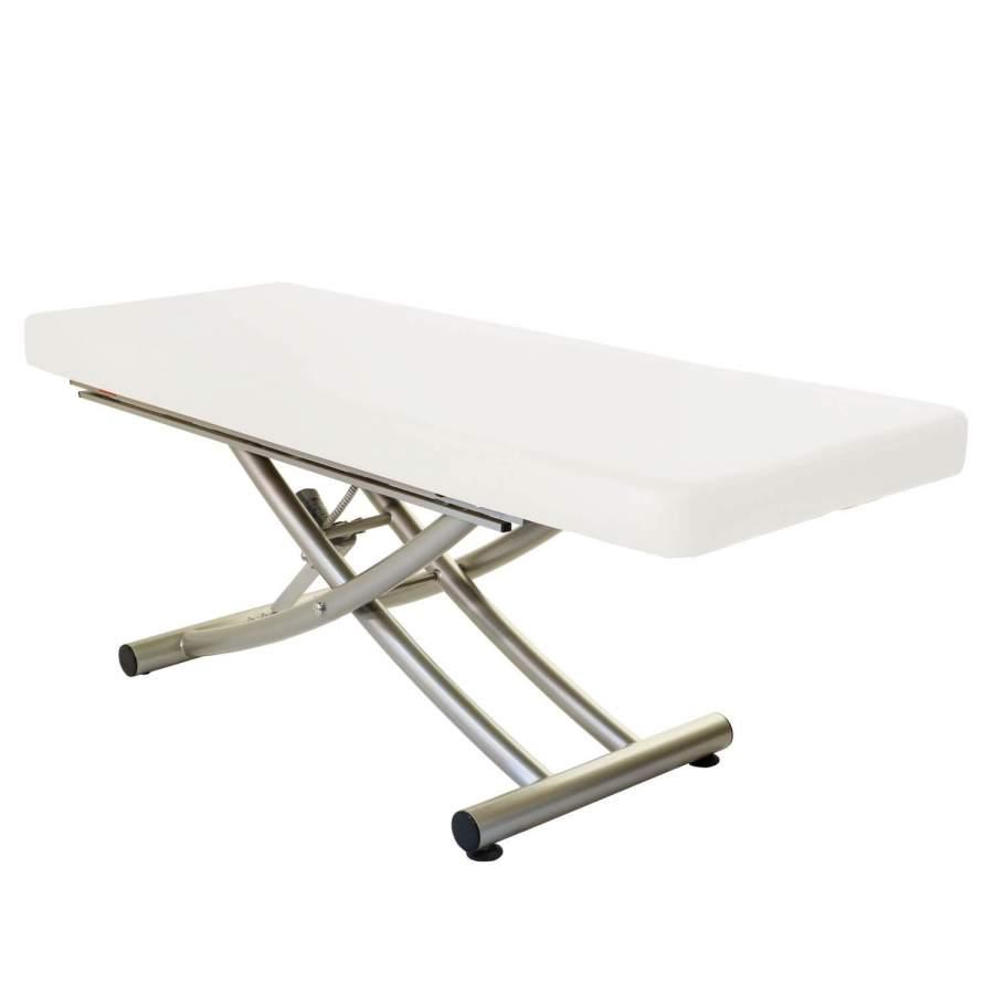 Stationäre Massageliege Matera ( ehemals Futura) mit durchgängiger Liegefläche, Untergestell titanium, Farbe: blanco (weiß)