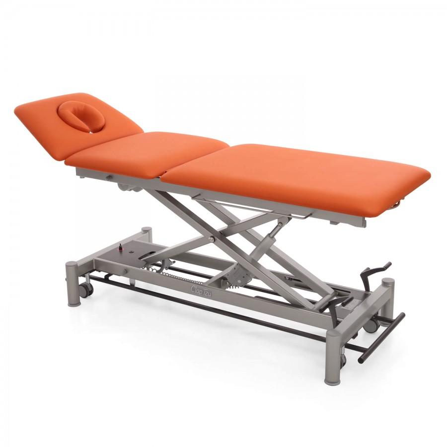 Therapieliege OSLO - Liegefläche mit 3-Segmenten , mit Radhebesatz (optional) orange, Untergestellfarbe twintone (anthrazit / titanium)