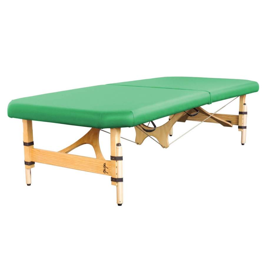 bAshô - mobile Feldenkraisliege in Handarbeit gefertigt. Beinfreiheit durch abgeschrägte Ecken und eingerückte Seilführung. Farbe: kiwi | Clap Tzu