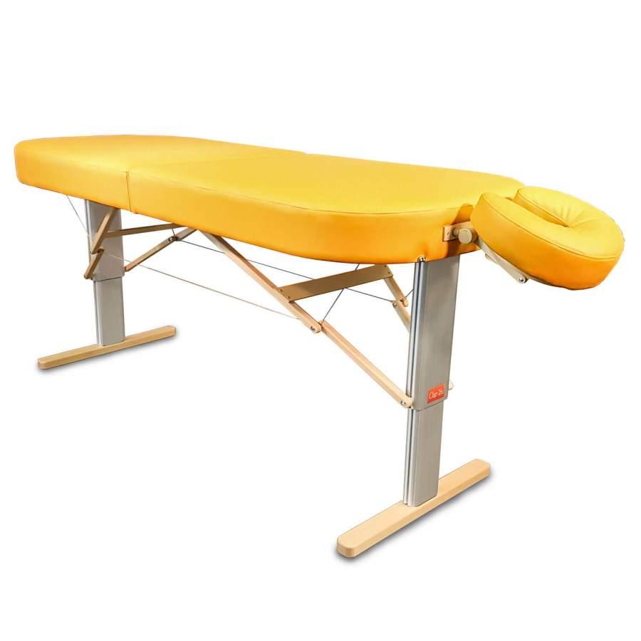 Mobile Lomi-Massageliege mit elektrischer Höhenverstellung: LINEA Hawaii (Kopfstütze NICHT im Lieferumfang enthalten! optionales Zubehör)- komfortabel gepolsterte breite  ovale Liegefläche, Bezugsfarbe: PU-sol (gelb)
