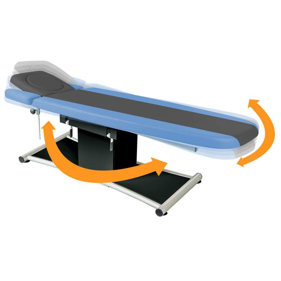 WaveMOTION-Therapieliege in Bewegung: 360° drehbar und schwingend gelagert: Ellipse Physio 4 Segmente: integriertes Kopfteil und Armablagen