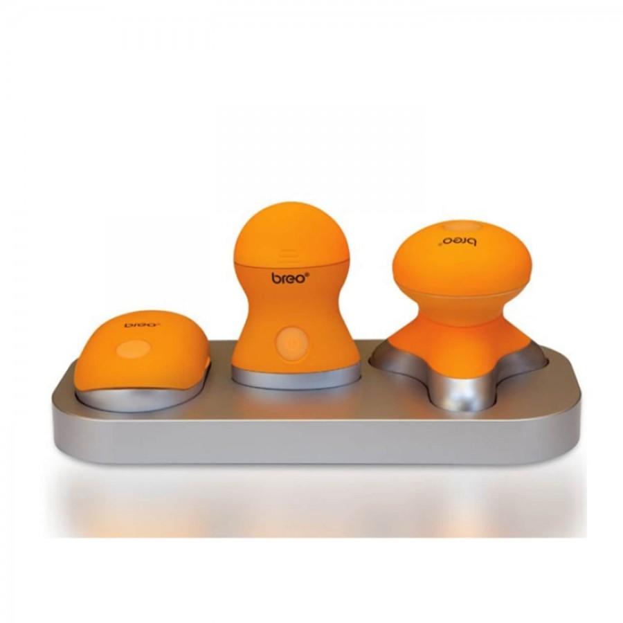 3 kleine batteriebetriebene Massagegeräte: Das breo Mini-Set mit Aufbewahrungsschale