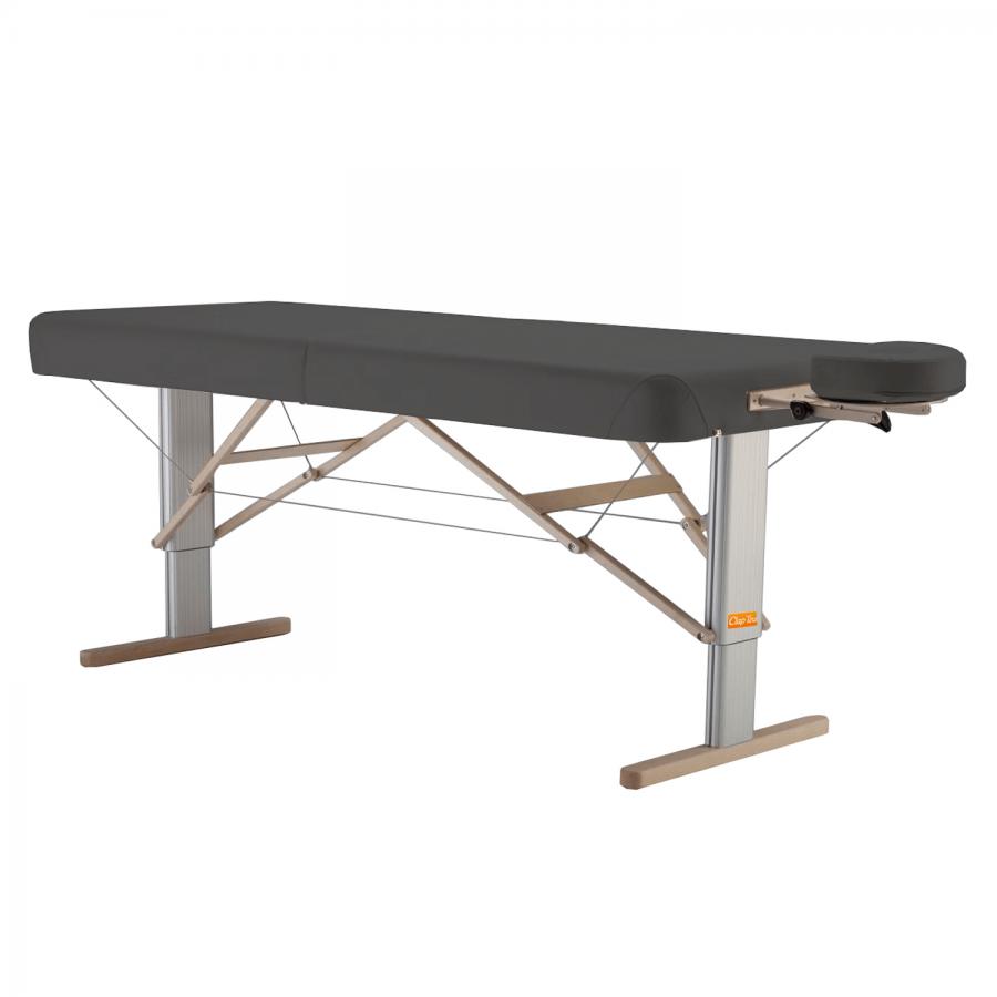 Mobile Massageliege mit elektrischer Höhenverstellung: LINEA Physio - Feste, gut tragende Polsterung für mobile Physiotherapie, Bezugsfarbe: PISA-graphit