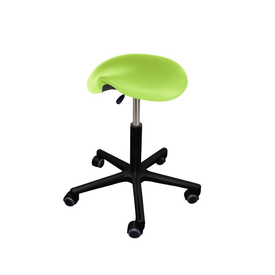 Rollhocker POSTO Sattelsitz | schwarzes Fußkreuz | Polsterfarbe: PISA-apfelgrün