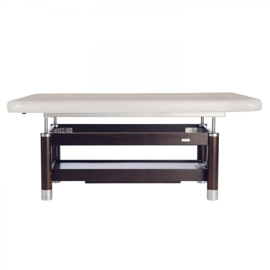 Edle Ayurvedaliege aus Holz: Elektrisch höhenverstellbar und mit Zusatzoptionen erweiterbar: Farbe: PU-blanco, Untergestell: Palisander lackiert