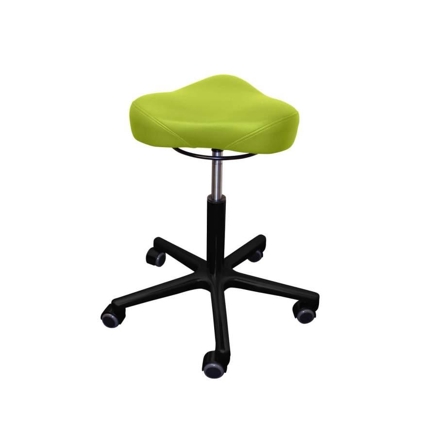 Rollhocker POSTO Triositz   schwarzes Untergestell   Polsterfarbe: PISA-apfelgrün
