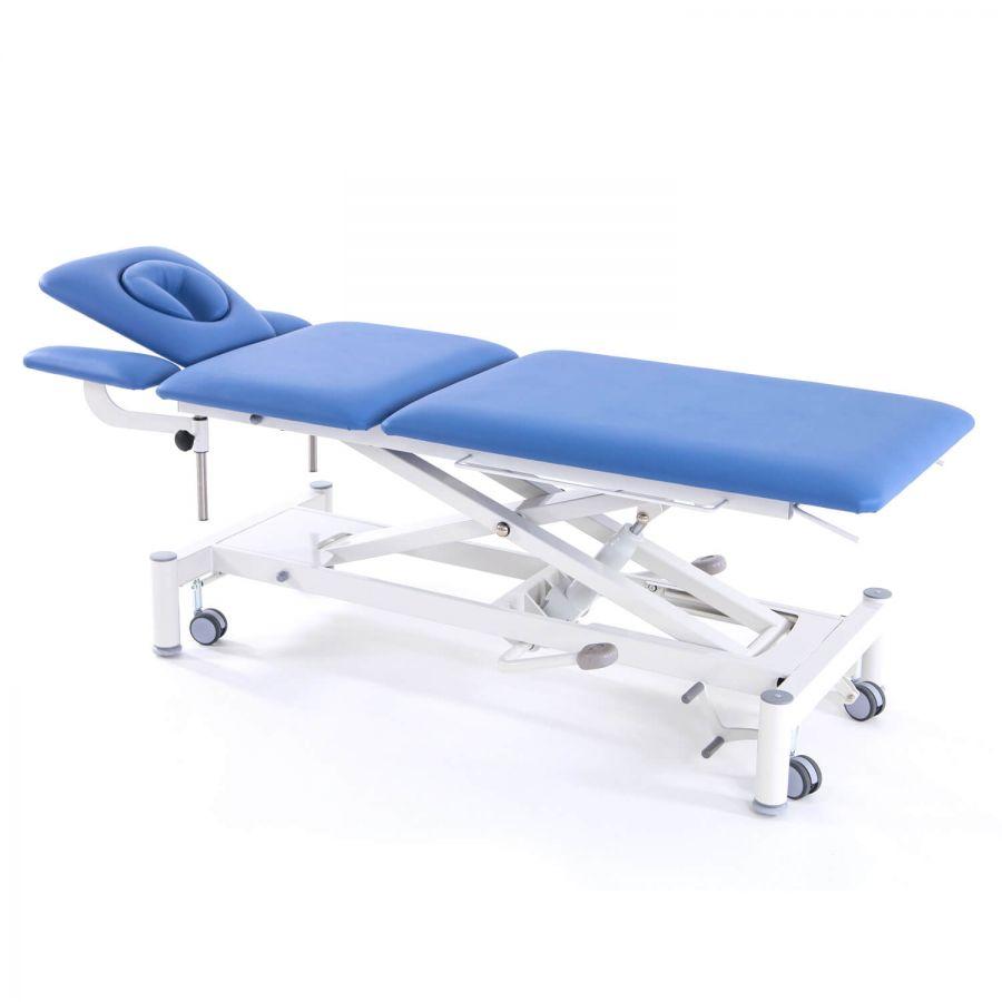 Hydraulische Therapieliege mit Kopfteil, Armablagen und hochstellbarem Bein- / Rückenteil: OSLO 5 Segmente hydraulisch : Untergestell mit Radhebesatz (optional): weiß, Bezugsfarbe: PISA-hellblau