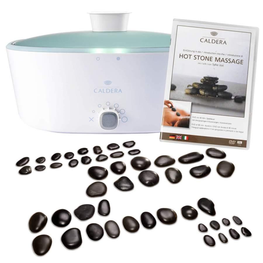 """Hot Stone Massage Set für Profis: CALDERA Profi-Set - Modernes Wärmegerät, 54 Basaltsteine und eine DVD """"Einführung in die Hot Stone Massage"""""""