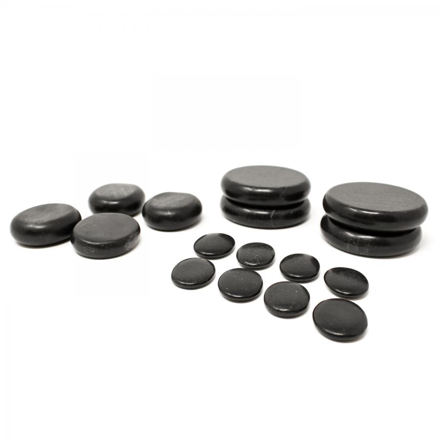 Das 16teilige Hot Stone Massagestein Set für die Hot Stone Massage. Perfekt für Layouts in Rückenlage und die Hot Stone Heating Box