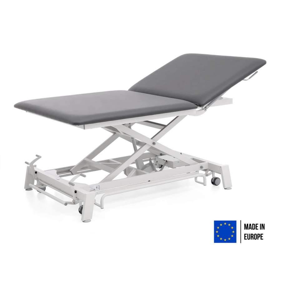 Bobathliege mit hochstellbarem Rückenteil: STOCKHOLM Bobath - Untergestell: weiß - Bezugsfarbe: PISA-graphit