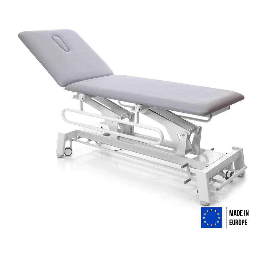 Untersuchungsliege STOCKHOLM: Diagnose-Liege mit elektrischer Höhenverstellung, Untergestell: polar-weiß mit Radhebesatz (optional), Bezugsfarbe: PISA-grau