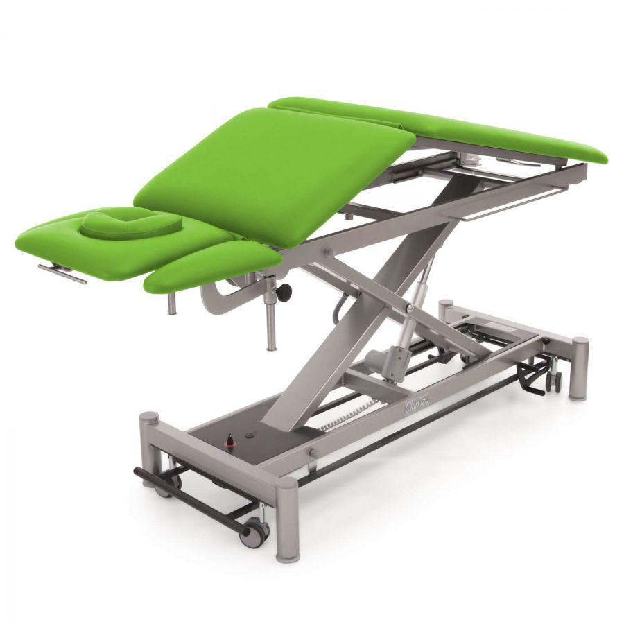 OSLO 5 Segmente | Flexible Therapieliege mit elektrischer Dachstellung: Kopfteil mit Gesichtsausschnitt, Armablagen und Bein- / Rücken-Teil: Untergestell: twintone (metallic / anthrazit), Bezugsfarbe: PISA-apfelgrün