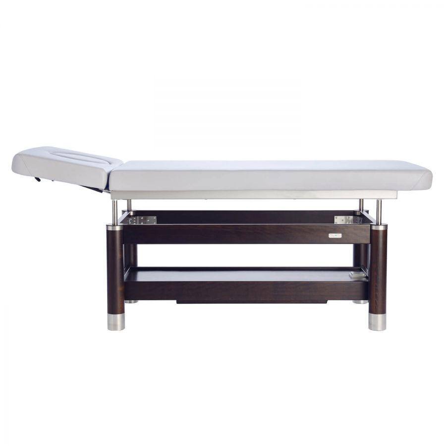 Stationäre Massageliege AMBRA Motion mit Kopfteil 40°/90° | Untergestell:Palisander lackiert, Bezugsfare: PU-blanco (Weiß)t
