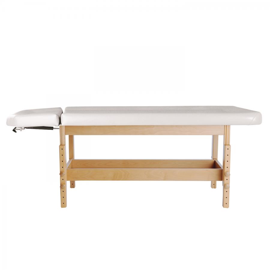 Ayurvedaliege aus Holz mit integriertem Shirodhara-Kopfteil, Untergestell: Buche lackiert, Bezugsfarbe: PU-blanco